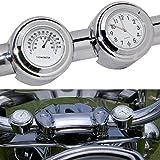 Uhr und Thermometer für Motorrad-Lenkerhalterung, 2,2cm und 2,5cm, Universal, Wasserdicht, Motorrad-Lenker-Thermometer-Uhr