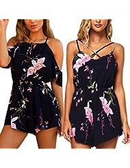 monos de vestir mujer, Sannysis Monos florales de verano, color negro