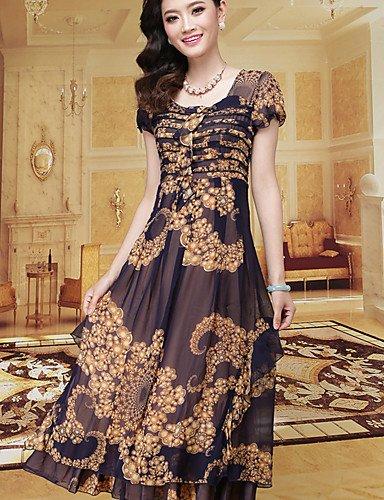 PU&PU Robe Aux femmes Grandes Tailles Vintage / Soirée Au dessus du genou Mousseline de soie multi-color-l