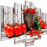 murando - Cuadro acústico Cocina 225x112 cm - decoración de Pared - Lienzo de Tejido no Tejido - 5 Piezas - Cuadros XXL - Panel de Pared - Silencio - Tomate pimentón j-C-0055-b-o