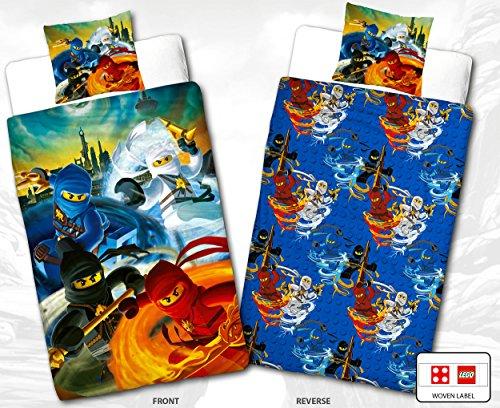 Lego Ninjago Kinder-Bettwäsche Blue Tornado - 135x200 cm + 80x80 cm - 100% Baumwolle Linon - Cole - Jay - Kai - Lloyd - Zane - Nya - Misako - Sensai Wu - Renforcé - deutsche Größe - Wende-Motiv (Bio-flanell-bettwäsche)