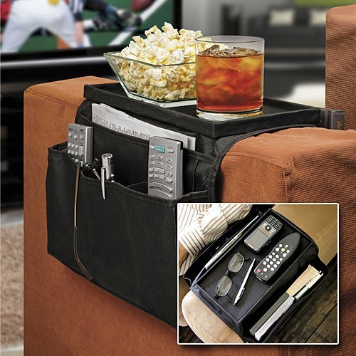 Liamra Solutions Limited – Universal 6 pocket sofá sofá brazo resto medios organizador revista snack remoto dvd móvil libros titular almacenamiento organiser