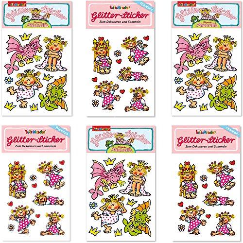 Lutz Mauder 6-tlg. Glitter-Sticker-Set * Prinzessin Miabella Kinder Aufkleber Kindergeburtstag Geburtstag Mitgebsel Geschenk Mädchen Unicorn rosa Elfen Fantasie Glitzer Thron Krone -