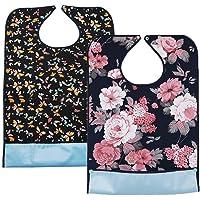 2er Set Wasserdicht Erwachsenen Lätzchen Waschbar Mealtime Protector Lätzchen Kleiderschutz mit annembares Krümelfach…