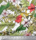 Soimoi Weiße Seide Stoff Tropische Blätter & Blumendruck
