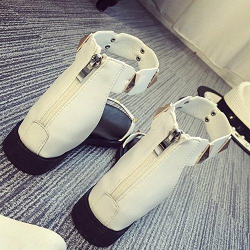 COOLCEPT Damen Mode Knochelriemchen Sandalen Aufzug Schuhe Mit Zipper White