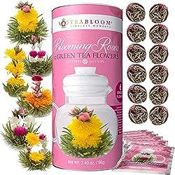 Teabloom Blühende Rosenblüten Tee Geschenk-Set - 12 Zusammengestellte, von Hand gebundene, blühende Grüntee Blüten - Blühende Rosen Tee Geschenkdose