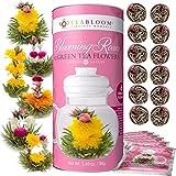 Juego regalo de té de rosas en flor en floración de Teabloom - surtido de 12 flores de té verde en floración atadas a mano - Bote regalo de té de rosas en floración