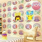 Minz 3d wallpaper Umwelt niedlichen Eule Vogel rosa blau Tapete Kindergarten Kinderzimmer junge Mädchen wallpaper Kaufen Sie drei Get One Free (Color : C02502)