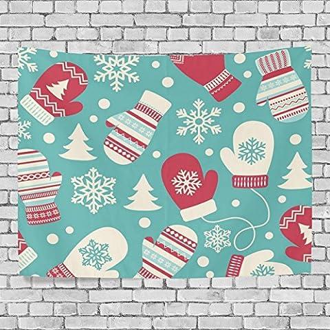 welllee Merry Christmas Wand Wandteppich, Xmas Cartoon Geschenk Handschuhe, werfen Home Decor Wandteppich für Schlafzimmer oder Wohnzimmer, 60x 40(in), Textil, blau, 90x60(in)