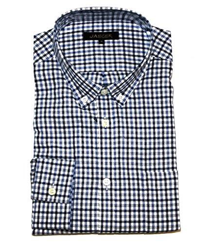 jaeger-mens-blue-herringbone-check-button-down-shirt-size-xl