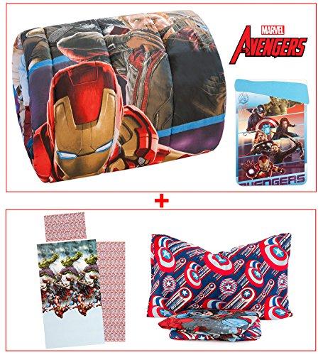 Trapunta + completo lenzuola 3 pezzi avengers marvel coordinato letto singolo