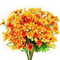 TXIN 6 Pieces Artificial Chrysanthemum Flower Outdoor Faux Plants UV Protection No Fade Home Office Party Decorations(orange)