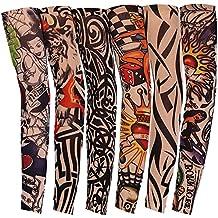 JUNGEN 6 Pcs Tatuaje Mangas Falsas Novedad Rock Temporal Tatuaje Brazo Medias Mangas 45 cm Disfraces