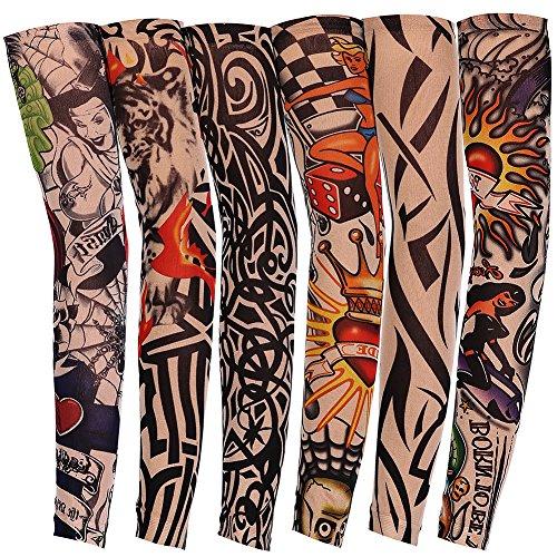 JUNGEN 6 Pcs Tatuaje Mangas Falsas Novedad Rock Temporal Tatuaje...
