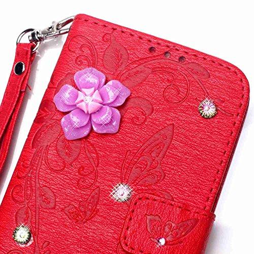 iPhone Case Cover Housse en cuir synthétique avec résine 3D Rhinetone en relief fleurs papillon portefeuille Housse Housse Housse avec une dragonne pour iPhone 7 ( Color : Red , Size : Iphone 7G ) Red