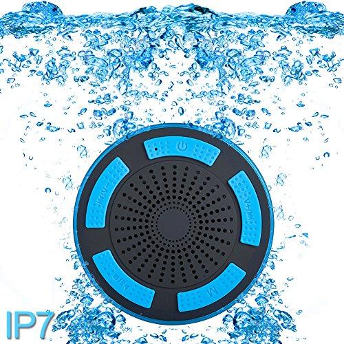 ParaCity Dusch-Lautsprecher, wasserdicht IP67,tragbares kabelloses Design mit Bluetooth 4.0,Lautsprecher mit Super Bass HD-Sound und LED-Licht, für Pool / Strand / Bad / Boot / Sauna / Spa blau