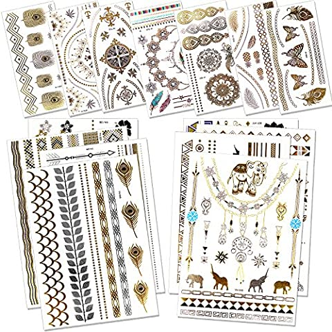 Outee 15 Blätter Metallic Henna Tattoos Temporäre Metallic Tattoos Blitz Temporäre Fake Schmuck Tattoos in Gold Silber für Erwachsene und Kinder