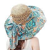 Fashion vintage Colorful Sun Flower totem modello ampia tesa paglia skimmer Weave cappello estivo Cappello da sole spiaggia Cap Big lungo cappello per donne ragazze signore Blue Totem + Khaki