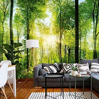 murimage Papel Pintado Bosque 3D 366 x 254 cm Fotomurales Vista madera árboles luz del sol living sala Incluye Pegamento