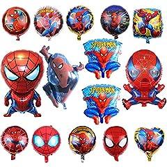 Idea Regalo - KRUCE 15 Palloncini Foil Supereroe Spiderman Compleanno Festa Compleanno, Palloncini Foil Supereroe Spiderman per Bambini Regalo Festa di Compleanno Forniture Decor