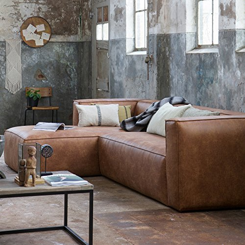 Eckgarnitur BEAN Leder cognac Couch Polster Sofa Ecksofa Longchair Ledercouch