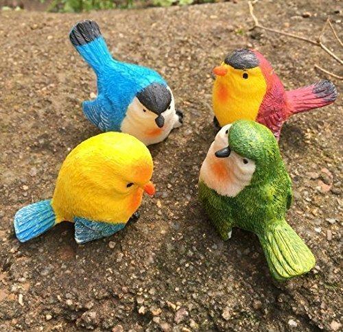 Uchic 5 pcs Petite Ornement de jardin en résine mignon Oiseaux pour extérieur Décor Statues et décoration Décorations de Yard Art Pot de fleurs pour balcon terrasse pelouse avec décoration à suspendre Couleur aléatoire
