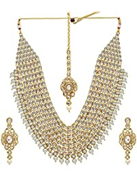 Jaipur Mart Alloy Metal Gold Plated Imitation Pearl & Kundan Jewellery Set (KN129$P)