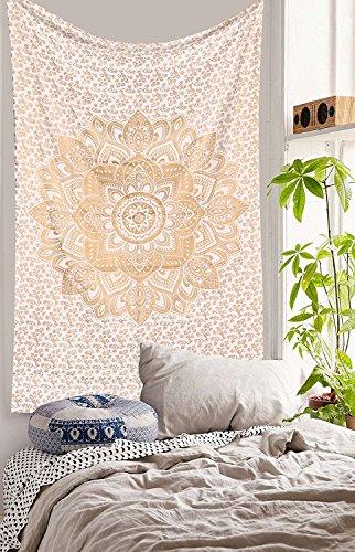Traditionelle Jaipur Lotus Mandala Wandteppich, Golden Ombre indischen Wandbehang, Bohemian Schlafsaal, Zimmerdekoration Hippie Picknick Werfen, Boho Strand Decke