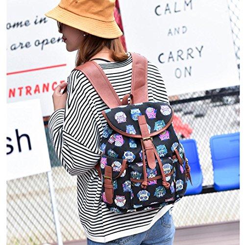 Longra Zaino nazionale della tela di canapa di stile della donna Multicolore_D