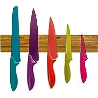 WDEC Porte-Couteaux Magnetique en Bois, Barre à Couteaux aimantée de 40 cm, Bandeau magnetique de Suspension pour…