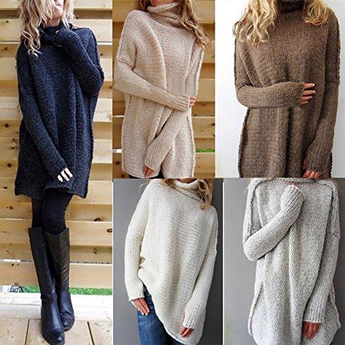 Maglioni Manica Lunga Maglione Lunga Maglieria Tops Autunno Inverno Donna Pullover Maglia Moda Collare Alto Casuale Sweatshirt Blu Navy