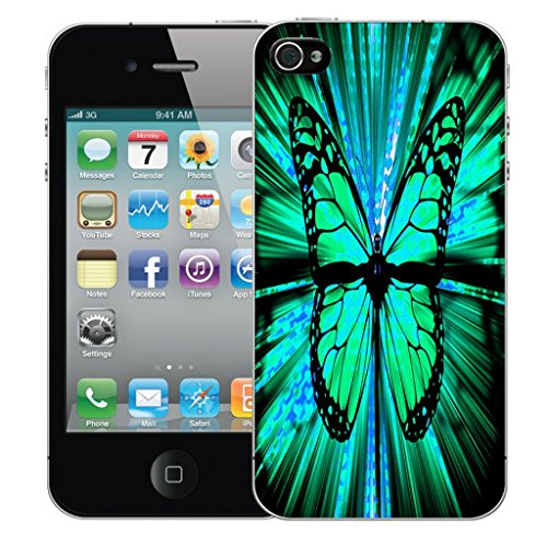 Mobile Case Mate iPhone 5 clip on Dur Coque couverture case cover Pare-chocs - inferno skull blue Motif hybrid butterfly