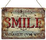 Retro Blechschild gewellt SMILE Nostalgie Metallschild Wanddeko Shabby Chic 40x28.5cm
