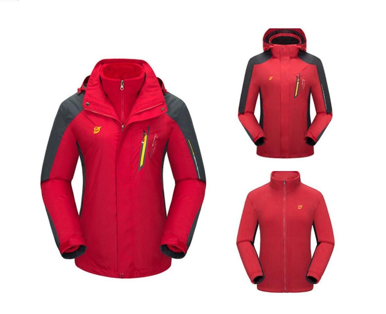XLHGG Soft Shell giacche da donna Giacca da sci 3-in-1 due pezzi cappuccio staccabile può essere in