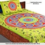 Aapno Rajasthan Red & Green Bandhani Print Single Bedsheet