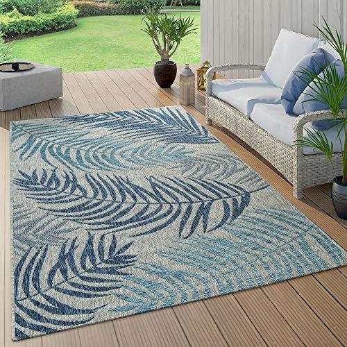 Alfombra De Tejido Plano Interior Y Exterior Moderna Jungla Diseño Palmeras Azul Pastel, tamaño:240x340...