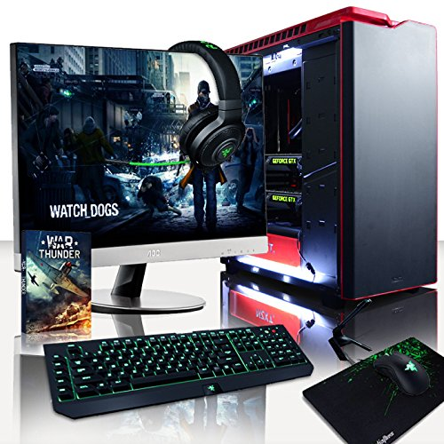 'VIBOX Legend 8 – Computer per gaming, 27, Intel i7 – 5960 X, 32 GB di RAM, hard disk da 3 TB, NVIDIA GeForce GTX 980 Ti SLI, Windows 10: Nero e Rosso – Tastiera QWERTY Inglese