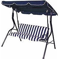 BAKAJI Dondolo da Giardino 3 Posti con Tetto Parasole Regolabile Struttura in Acciaio Seduta in Tessuto Oxford Dimensioni 170 x 110 x 153 cm Blu