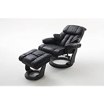 robas lund sessel relaxsessel calgary mit hocker leder schwarz 90 x 91 122 x 89 104 cm. Black Bedroom Furniture Sets. Home Design Ideas