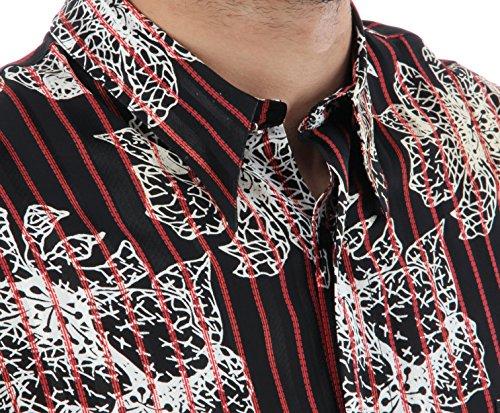 Designerhemd in Schwarz mit rote Streifen, für Herren BESTE QUALITÄT, HK Mandel Freizeithemd Kurzarm Normal Nicht Tailliert, 1123 Schwarz/Gemustert