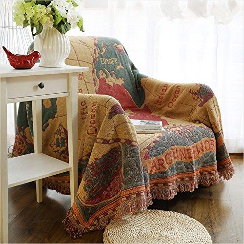 Gewebte Überwurfdecke, 100 % Baumwolle, mit Fransen, Handtuch/Steppdecke für Couch, gelb/blau, Mond/Sonne, 129,5 x 167,6cm Weltkarte