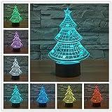 Tannenbaum 3D Lampe Optische LED Täuschung Nachtlicht,HAIYU 7 Farbwech mit Acryl Flat & ABS Base & USB-Ladegerät ändern Berühren Sie Botton Schreibtisch lampe Tischleuchte