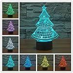 HAIYU - Lampada LED a forma di albero di natale 3D, luce notturna, 7 colori modificabili, con Acryl Flat e base ABS, caricatore USB, lampada da scrivania, da tavolo