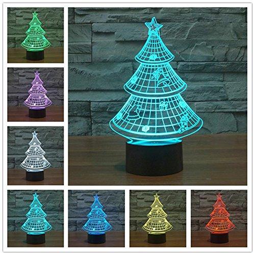 Albero di Natale 3d proiettore inganno ottico a LED luce notturna, Haiyu Cambiare 7farbwech con acrilico Flat & ABS Base & caricatore USB lampada da tavolo toccare Botton