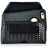 Newyorkcellphone Basket Weave Genuine Leather Police Law Enforcement Case with Heavy Duty Metal Rotating Duty Belt Loop Clip and Hook and Loop Closure Fits Lg V20