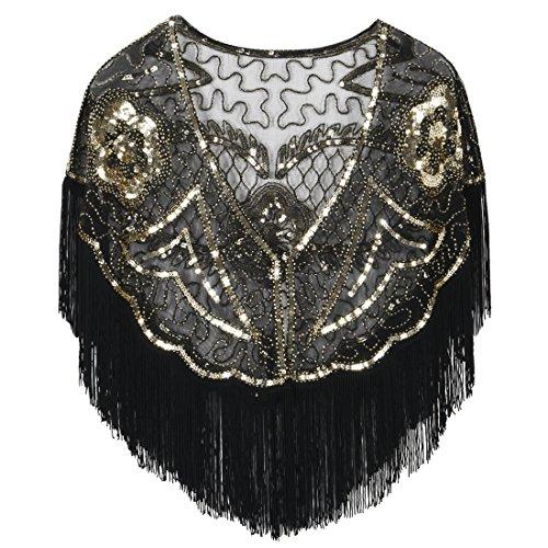 PrettyGuide Damen Stola Abendkleid Perlen Pailletten Franse 20er Jahre Schal schwarz gold