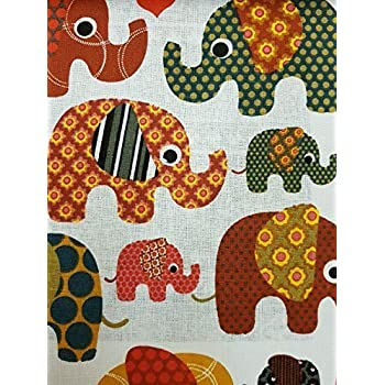 Kids Brown Colour Elephants Print Cotton Fabric Curtain Upholstery Crafts