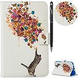WIWJ Hülle Case für Samsung Galaxy Tab 3 Lite 7.0 SM-T110/T111/T113,Ultra Slim Gemalt Schutzhülle Tasche Case Mit Schlaffunktion 3D lackiertes Lederhülle-Katze und Schmetterling
