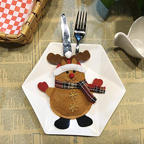Rawdah* Décoration Creative Home Party Fourchette Set Hat Arbre De Stockage Outil De Noël Sac Décoration De Noël Couverts Set A Elk